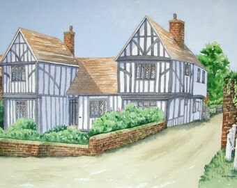 Original watercolour painting of an English timber house. Unframed without mount.