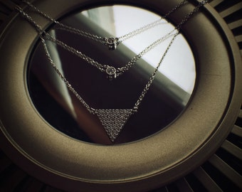 Sterling Silver Pave Triangle Necklace