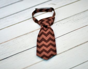 Little Guy Tie - Brown Tonal Chevron - Little Guy Tie in Brown Tonal Chervon - Boys, Infant, Toddler Tie