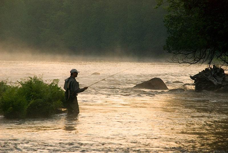 Photograph of fly fisherman adirondack mountains fly fishing for Adirondack fly fishing