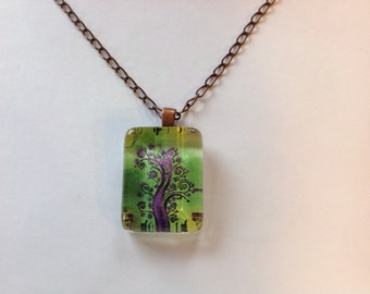 Purple Tree, Glass Pendant Necklace, Altered Art