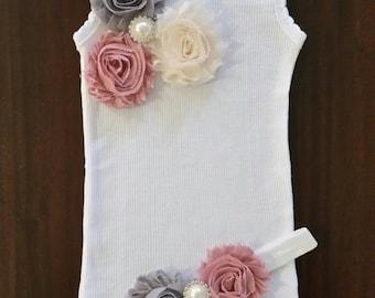 Handmade Baby girl vintage inspired singlet and headband set.Embellised singlet.Baby girl singlet. Sizes 0000,000,00,0,1,2