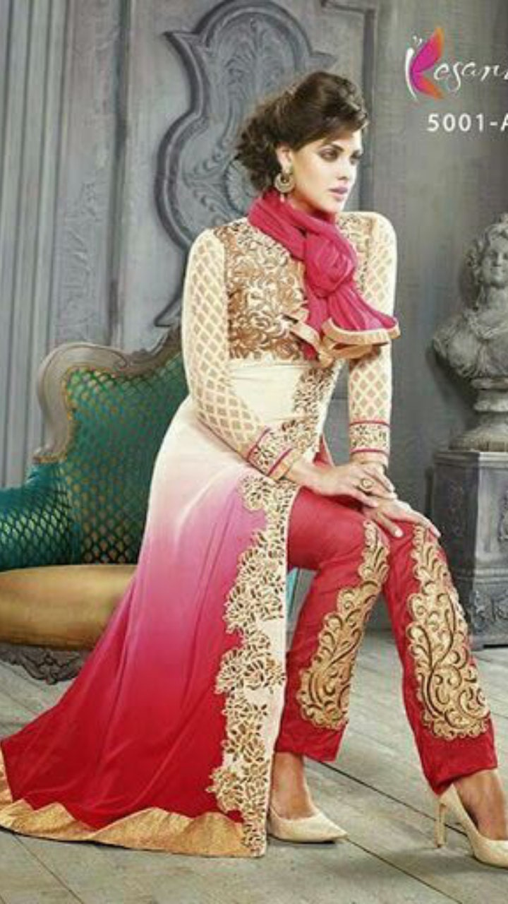 SALE Designer Pink and White Pakistani Suit Designer Bollywood