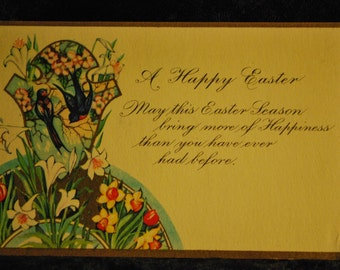 1127 - Vintage Post Card - A Happy Easter