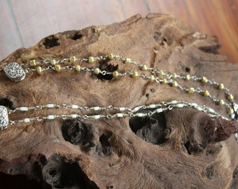 Double stranded wire and beaded bracelet