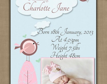 Personalised Baby Girl Birth Announcement / Introduction / Thank you Card