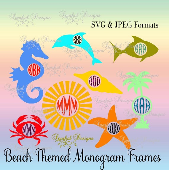 Beach Monogram Frame Svg Related Keywords & Suggestions