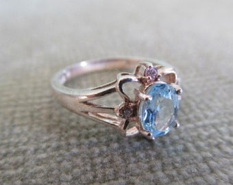 Avon Sterling Silver & Blue Topaz Ring with Pink Cz accents Size 6