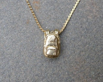 Brass Backpack Charm on Brass Chain