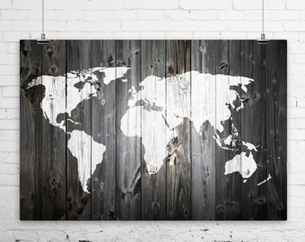 World map wall art metal etsy rustic painted barn wood world map art print wall poster giclee wrapped canvas gumiabroncs Images