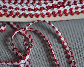 "Red and White Trim 3/4"" (1.00cm) Imported from France"