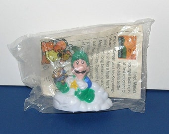 Vintage 1989 McDonald's Nintendo Luigi pull toy, still sealed