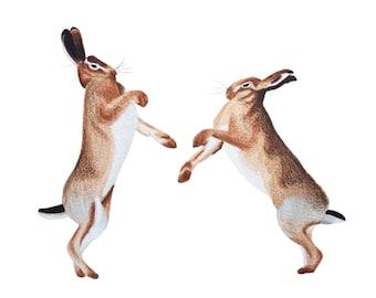 Boxing Hares Print
