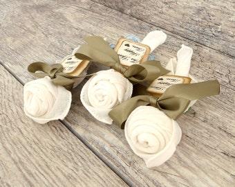 Vintage Handkercheif Roses - Wedding Ceremony Favor Rose - White/Ivory - Set of 5 - Unique Wedding Favor