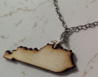 Laser Cut Wood Kentucky Necklace
