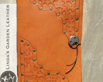 Handmade Leather Steampunk Journal or Sketchbook Style 2