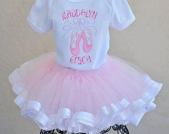 Ballet Tutu Custom Personalized Outfit Applique Shirt Pink White