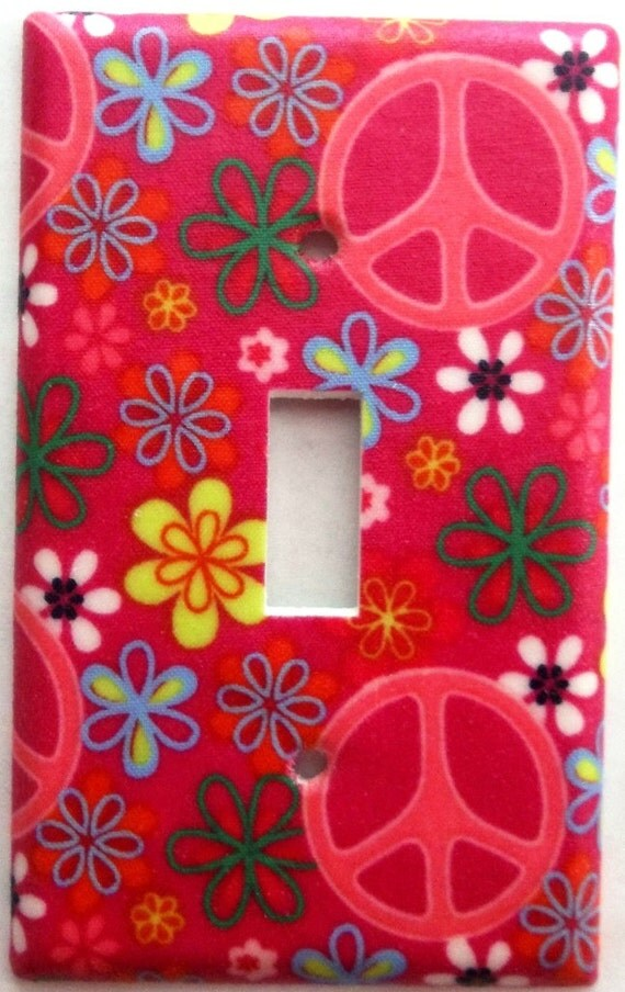 Peace Sign Bedroom Accessories: Pink Flower Peace Sign Girls Bedroom Bathroom By