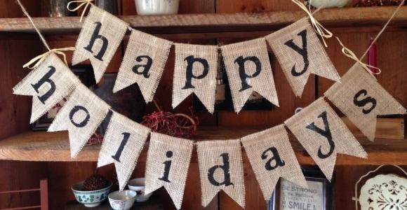 Happy Holidays Burlap Bunting, Christmas Bunting, Holiday Bunting, Christmas Banner, Christmas Burlap Bunting, Christmas Decor, Party Deco