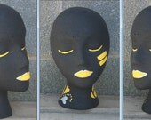 Hand Painted Football Team Mannequin Head Prop Hat, Scarf, Headband, Glasses, Wigs