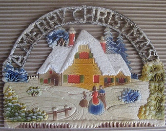 Vintage Germany Large Pressed Cardboard Christmas Snowy House Scene 1970s