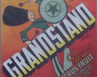 1940s Vintage Paper Fruit Crate Label Grandstand Texas Citrus