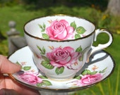 Pink Rose Teacup and Saucer Bone China by Melba Made in England