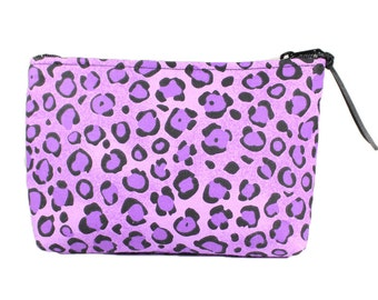"7"" Purple Cheetah fabric cosmetic bag/pouch"