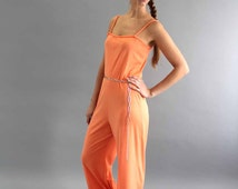 spaghetti strap jumpsuit . peachy womens one piece with belt . 1970s disco jumper . wide leg romper
