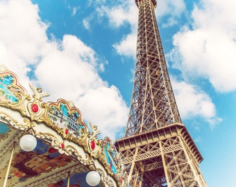Paris Photography, Eiffel Tower Carousel Canvas Gallery Wrap, Large Wall Art Paris Print