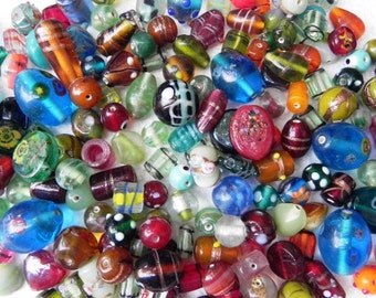 Assorted ONE pounds SUPER DELUX lampwork handmade glass beads mix..Best for your any craft