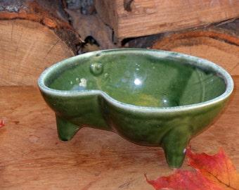 California Pottery Bonsai Planter Avocado Green Candy Dish Kidney Shape 1960s Mid Century Vintage Storage Or Organizer