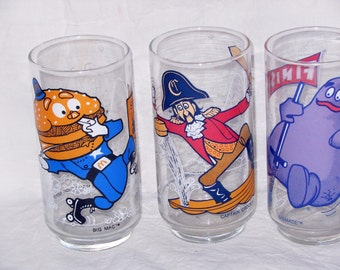 Ronald McDonald Promotional Glasses Vintage Set Of Three 1977 Mint Condition Collectible Lot D