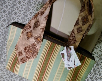 Striped Fabric Vintage Tie Collection, Fabric Handmade Handbag, Ellie Bag