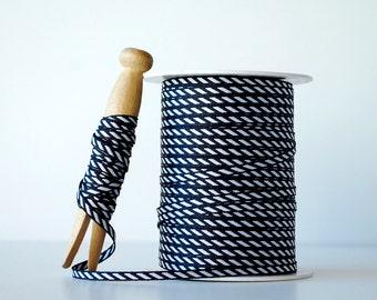 "Black and White Stripe Woven Ribbon 1/8"" Wide Thin Ribbon 5 Yard Cuts"