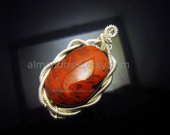 Sale Poppy bohemian jasper stone pendant   wire wrapped   stone   id1340168   gift for her