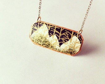 Snow Capped Mountain and Gold Trees Necklace Copper// silver plated necklace