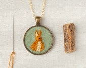 Bunny Rabbit Necklace Embroidered Felt - Circle pendant - Woodland animal - Gold Plated - Sage green