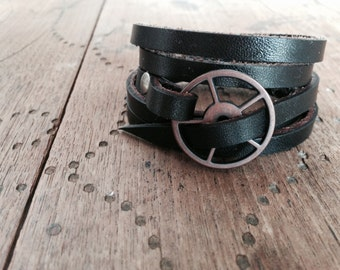 FREE SHIPPING - Leather Wrap Bracelet in Black leather with Copper buckle
