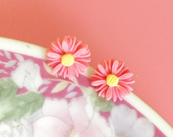 Pink Daisy Studs, Pink Flower Earrings, Pink Daisy Earrings, Pink Flower Studs, Flower Girl Earrings, Bridesmaid Gift Earrings (LB3)