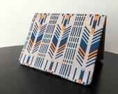 Card Wallet - Navy and Orange Arrow