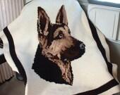 Hand-crocheted Framed 4' x 3' GERMAN SHEPHERD Portrait Throw Lap Afghan Blanket