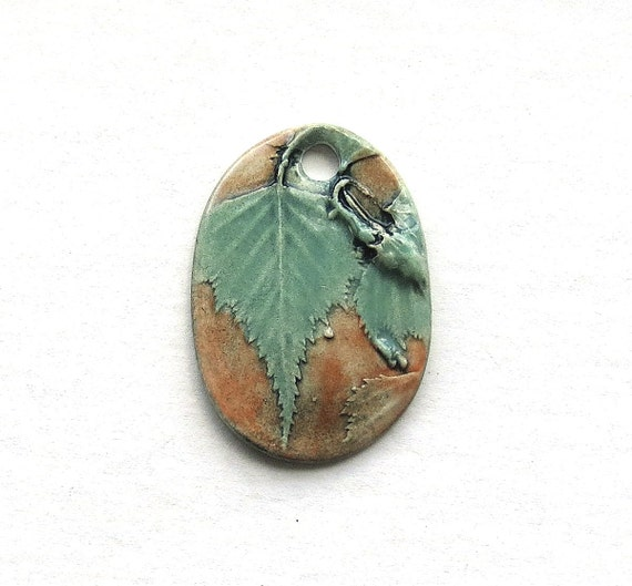 Handmade Ceramic Pendant Birch Leaves  Beige Background  Oval Shape