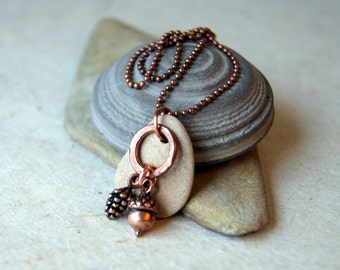 Woodland Necklace with Acorn, Pine Cone and Beach Stone  - FREE GIFT WRAP