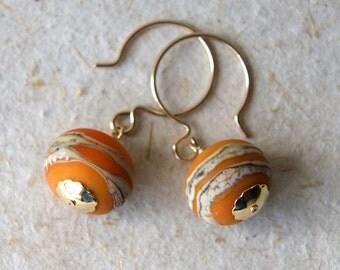 Lampwork Glass Earrings - Orange Glass Earrings - lampwork glass bead earrings - Glass Drop Earrings - gold filled earwires