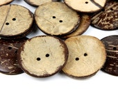 10 Natural Coconut Shell Buttons  50mm 5cm 2 inches - 2 holes - Big Brown