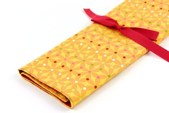Knitting Needle Case - Carnival - IN STOCK  Large Organizer 30 red pockets for straights, circulars, dpns and notions