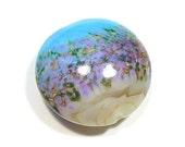 Turquoise & Tan Flower Garden  Jumbo Lentil Handmade Glass Lampwork Bead