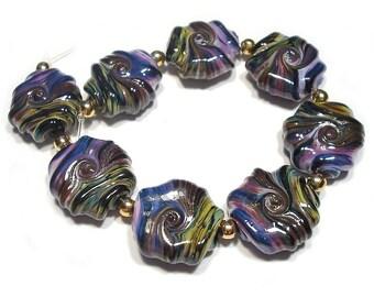 Handmade  Lampwork Rakuli Twist  Whirled Glass Tabular Beads