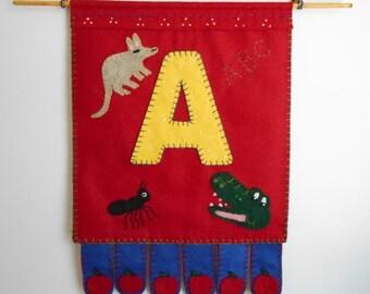 Fiber Art Decor, Childrens Room Wallhanging, Classrom Aid, Nursery decoration, Embroidery